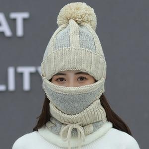 Image 5 - נשים של כובע גבירותיי סתיו והחורף לסרוג כובע wild נוער אוזן הגנת חורף חם בתוספת קטיפה עבה אופני צמר כובע נשי