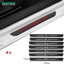 4pcs Soleiras Guardas Da Porta de fibra de carbono adesivo para Audi A3 A4 A5 A6 A7 A8 TT Q3 Q5 Q7 A1 B5 B6 B7 B8 B9 8P 8V 8L C6 C5 C7 4F