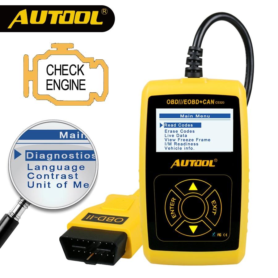 AUTOOL CS320 OBD2 Scanner Automotive Car OBD2 Code Reader CANBUS Scan Digital Diagnostic Tool LED Dispaly Key DIY PK AD410