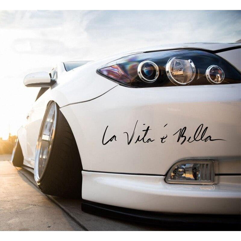 Three Ratels Car Stickers Decals La Vita e Bella Reflective Letters Vinyl Decal Fashion Creative Car Full Body Styling Sticker