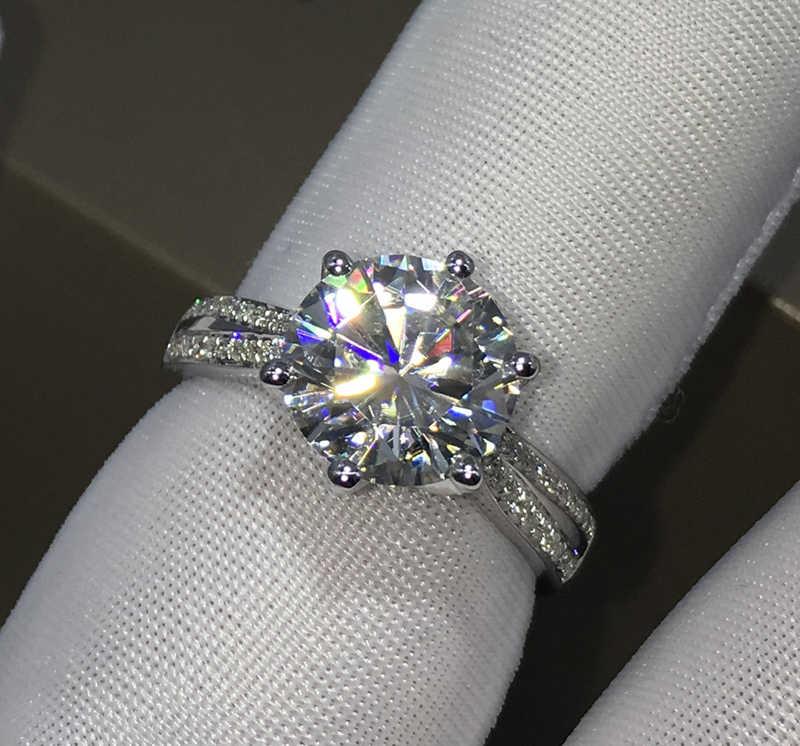 Yanhui dengan Sertifikat Nyata Asli 925 Perak Padat Cincin untuk Wanita Mewah 3 Karat Zirkonia Diamond Cincin Perhiasan R006