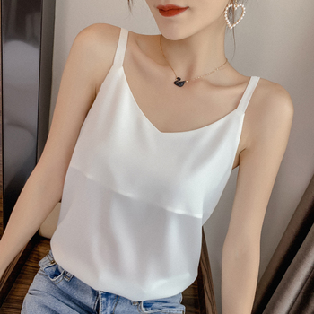 Korean Women Tops Camis Chiffon Women Tank Tops Elegant Woman Solid Hollow Out Halter Top Woman V-neck Camisole Top Plus Size women solid round neck ribbed tank top camisole women 2020 summer basic elastic tank top o neck solid tank top plus size
