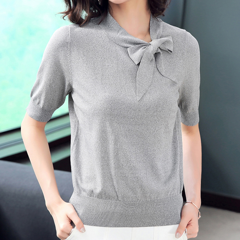 Shintimes Thin Butterfly Collar Women Sweater Summer Clothes Knitted Solid Short Sleeve Korean Fashion Sweater Woman Pullovers