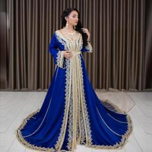 Occasion-Gowns Evening-Dresses Moroccan Kaftan Arabic Muslim Royal-Blue Velour Lace Special