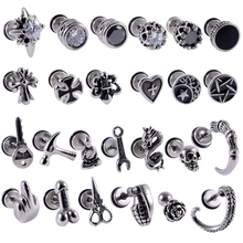Ear Studs Jewelry Gothic-Earrings Tragus Punk Body-Piercing Stainless-Steel Helix Cartilage