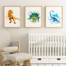 Nordic style watercolor art deco animal Tyrannosaurus dinosaur poster mural for children #8217 s room decoration canvas painting K502 cheap WXDUUZ Canvas Printings Unframed Single Spray Painting Vertical Rectangle American Style
