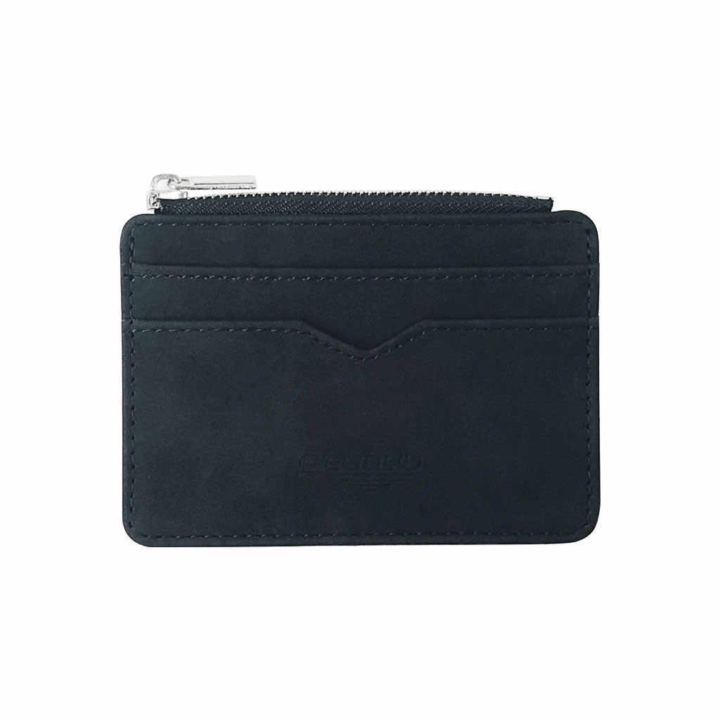 2019 ชายใหม่ผู้ชาย PU หนัง MINI ขนาดเล็ก Magic กระเป๋าสตางค์ซิปกระเป๋าใส่เหรียญกระเป๋าพลาสติกบัตรเครดิตธนาคารผู้ถือกรณี