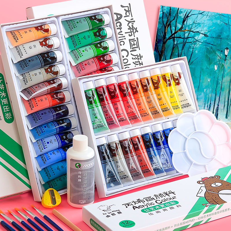 Professional Acrylic Paints Set 12/18/24 /36Colors 12ML Hand Painted Wall Drawing Craft Painting Pigment Set Art Supplies