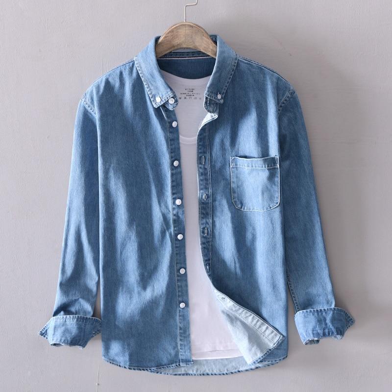 The New 2019 Men's Denim Shirt Cotton Water To Wash The Denim Shirt