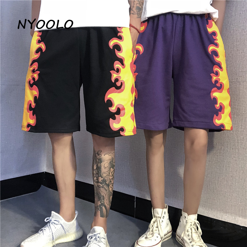 NYOOLO Harajuku Vintage Street Flame Print High Waist Straight Shorts Women Men 2020 Summer Loose Elastic Waist Hip Hop Shorts