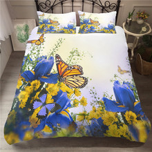 Double Bedding Coverlet Bed Linen Blue Butterfly Flowers Pattern King Comforter Set with Pillowcases Queen Single Size bedding set double euro altinbasak navi sky blue