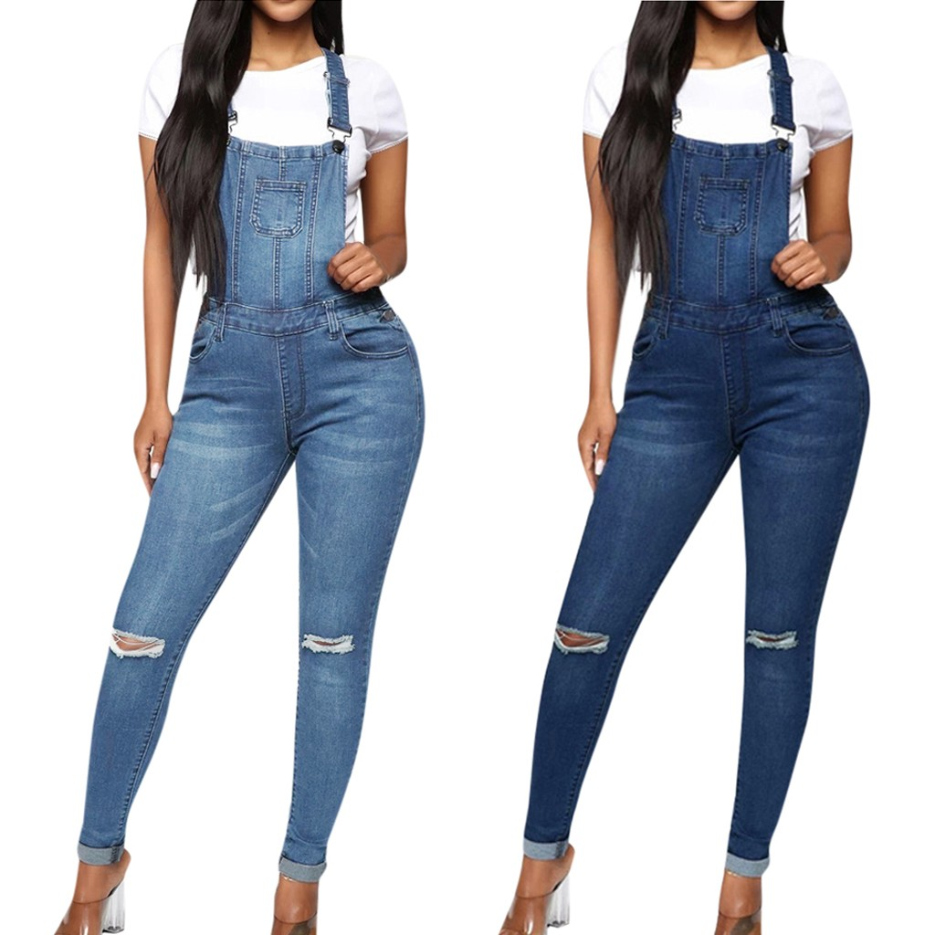 35#Women Casual Pocket Jean  Leggings Hole Splice Trouser Rompers Pant Bib Pants  Ladies Denim Skinny Trousers Plus Size Women