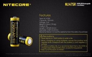 Image 4 - 1 قطعة NITECORE NL1475R المدمج في مايكرو منفذ شحن USB Battries 750mah 14500 بطارية قابلة للشحن 3.6V الناتج 2A تحديث NL147