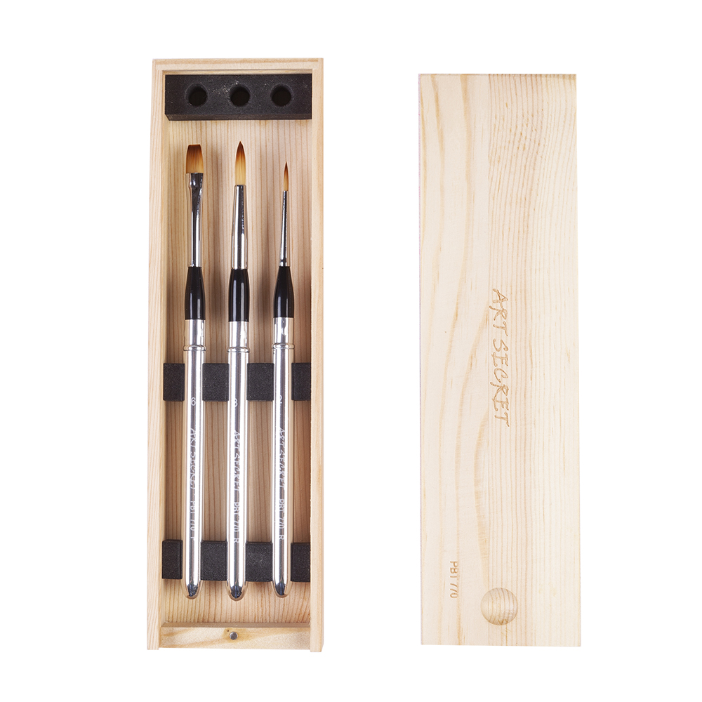High Quality PBT770 3PC/set Taklon Hair Brass Ferrule Aluminum Cap Wooden Case Watercolor Paint Art Brush Set