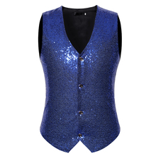 Vest European code personality nightclub style mens casual wild four button vest fashion sequins large size