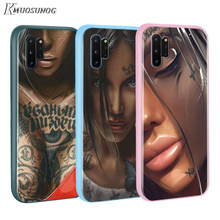 Fashion Lengan Tato Gadis BASEUS Permen Warna PENUTUP UNTUK Samsung GALAXY Catatan 10 9 8 S11 S10 S9 S8 S7 plus Edge Phone Case(China)