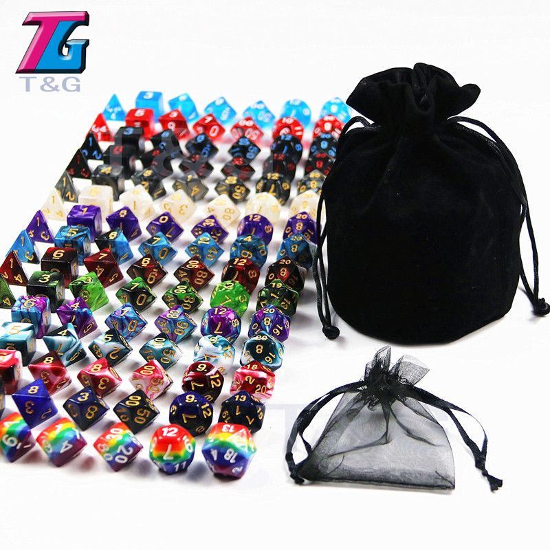 105pcs Assorted Polyhedral Dice with Plus Pouch T G Rainbow 15 sets of D4 D6 D8