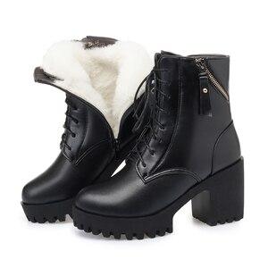 Image 1 - AIYUQI Botas de piel auténtica con tacón grueso para mujer, botas de lana cálidas, zapatos de boda, color rojo, para invierno, 2020