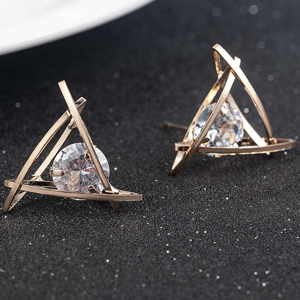 2019 großhandel Mode Hohl Dreieck Zirkon Ohrringe Weihnachten Geschenk Schöne Schmuck ohrringe modeschmuck koreanische ohrringe