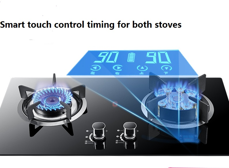 Nine Hole Gas Stove Double Stove 5.0KW Fierce Furnace Intelligent Timing Stove With Natural Gas Embedded Bulit-in Gas Hobs Dual