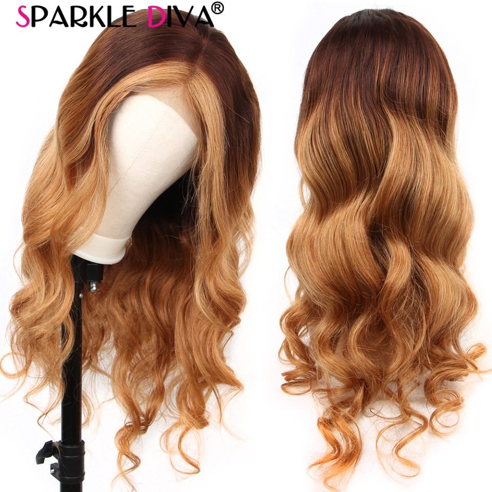 Glueless #4/27 Lace Front Human Hair Wigs Peruvian Body Wave 13x4 Ombre Lace Front Wig 150% Density Remy Lace Wigs Pre Plucked