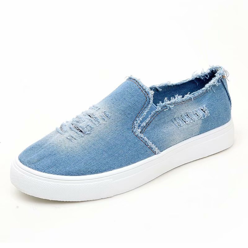 Women Slip On Denim Canvas Sneakers Low Top Loafers Shoes Round Toe Casual Leisure Walking Shoes