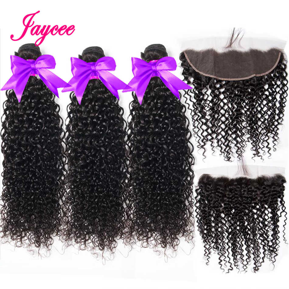 JAYCEE Ear To Ear Lace Frontal Closure With Bundles Indian Kinky Curly Human Hair Bundles With Frontal 3pcs &1 Closure Remy hair