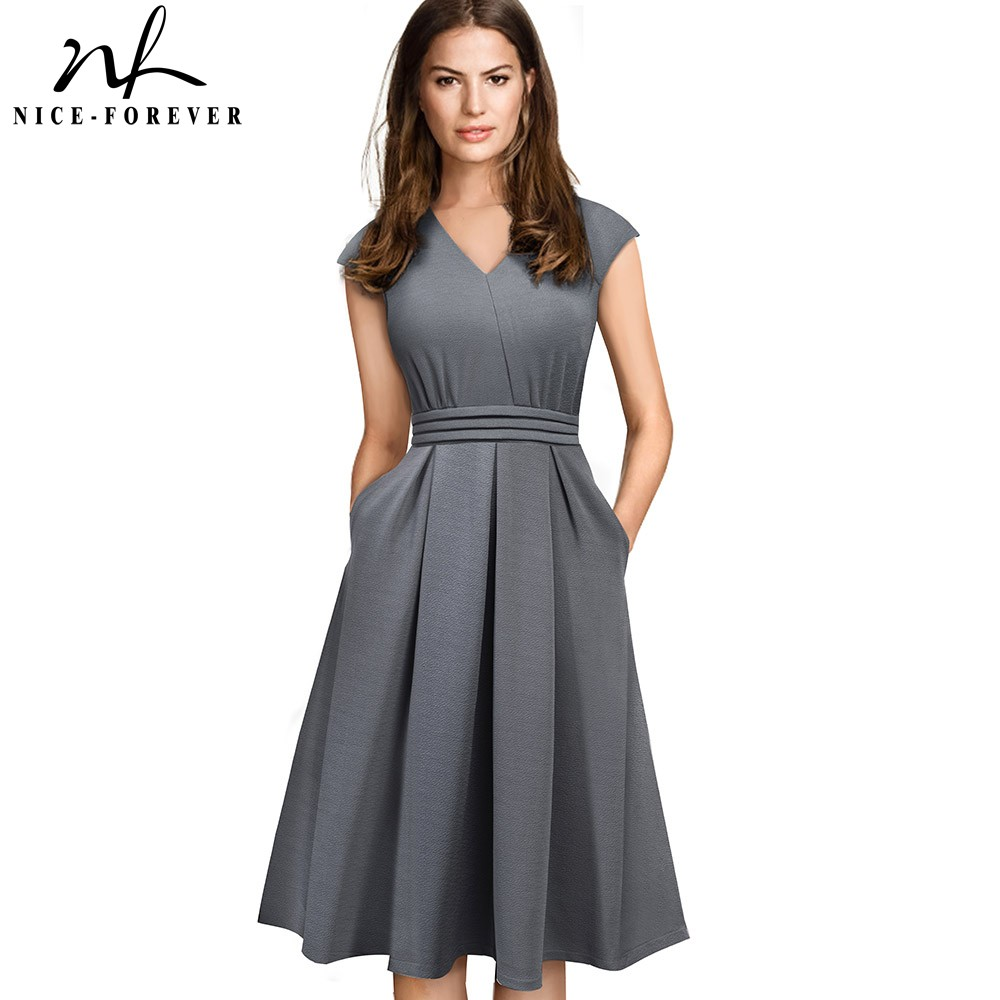 Nice-forever Brief Elegant Solid Color Sleeveless Vestidos With Pocket A-Line Women Flare Dress A196