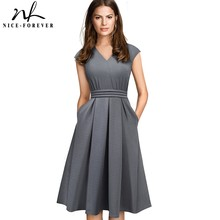Nice forever Brief Elegant Solid Color Sleeveless vestidos with Pocket A Line Women Flare Dress A196