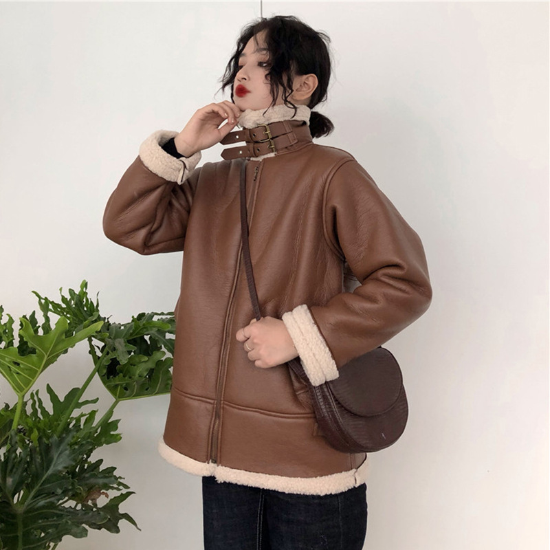 Lambs Wool Joint Leather Coat Winter Women's 2019 New Style Students Hong Kong Style INS Loose Casual Cotton-padded Jacket Tops
