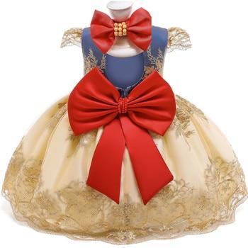 Bebé de encaje de las niñas vestido de princesa 1 2 años de fiesta de cumpleaños de recién nacido 1st bautizo vestido de Navidad blanco nieve traje