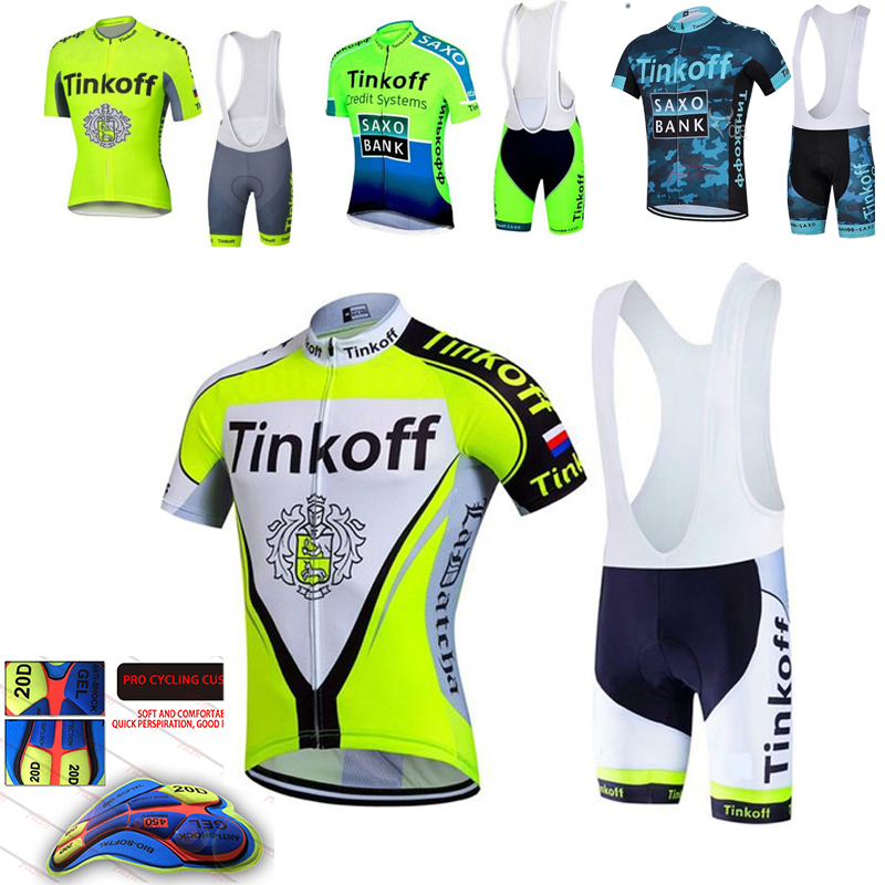 NEW 2021 Saxo Bank Tinkoff Team Cycling Jersey Sets MTB Bicycle Bike Breathable shorts Clothing Cycling Suit 20D GEL