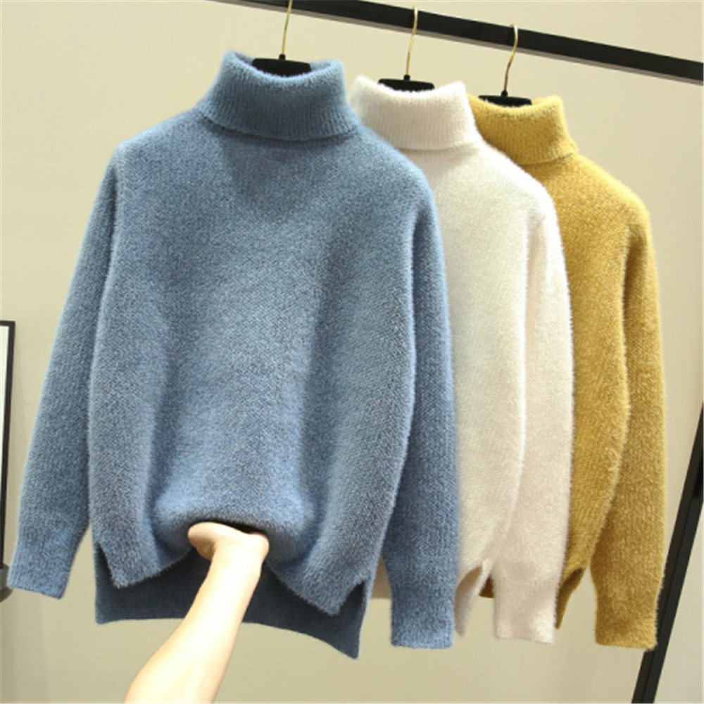 Autumn Winter Long Sleeve Pullover Sweater Women Casual Solid Color Turtleneck Ladies Wool Sweaters Za Tops Clothes Women Us2019