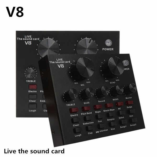 V8 Soundkarte Audio Set Interface Externe Usb Live Mikrofon Soundkarte Bluetooth Funktion für Computer Pc Handy Singen