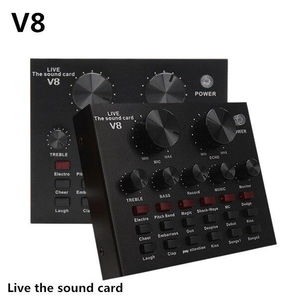 V8 звуковая карта Аудио Набор интерфейс внешний Usb живой микрофон звуковая карта Bluetooth функция для компьютера ПК мобильный телефон Синг|Звуковые карты|   | АлиЭкспресс