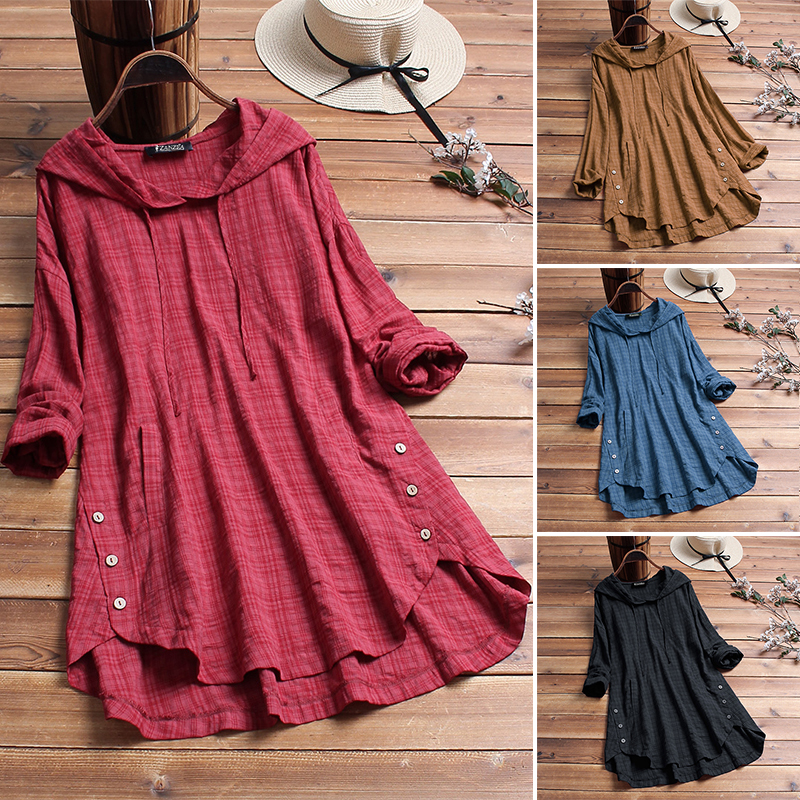 Plus Size Linen Shirt Womens Summer Autumn Blouse 2019 ZANZEA Long Sleeve Shirts Female Button Asymmetrical Blusas Hooded Tunic