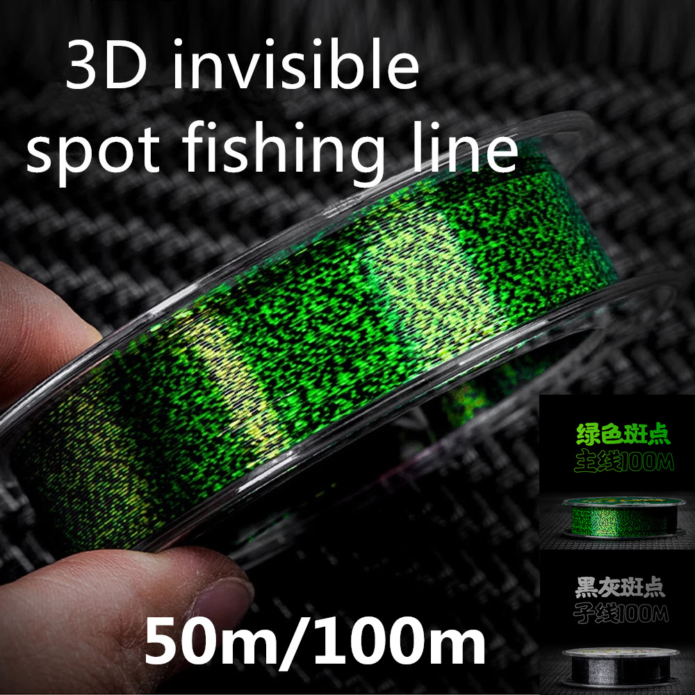 50m/100m Invisible Fishing Line Speckle Carp Fluorocarbon Super Strong Spotted Sinking Nylon Fly Fishing Lines 0.12-0.50mm