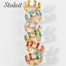 Gold Promise Crystal Crown Rings For Women Fashion Jewelry Square Glass Party Golden Engag Ring Girls Aolly Surprise Price(China)