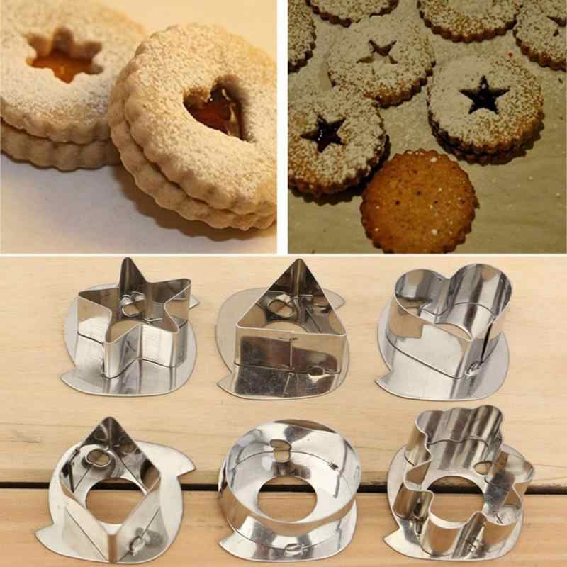 7 Buah/Banyak Cookie Cetakan 3D Stainless Steel Cookie Cutter Gingerbread Cake Biskuit Cetakan Fondant Cutter Baking Alat Warna Acak