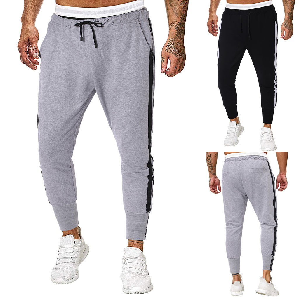 Men Joggers Sweatpants Men's JoggerTrouser Men Splicing Pure Color Overalls Casual Pocket Sport Work Casual Trouser Pants M-2XL