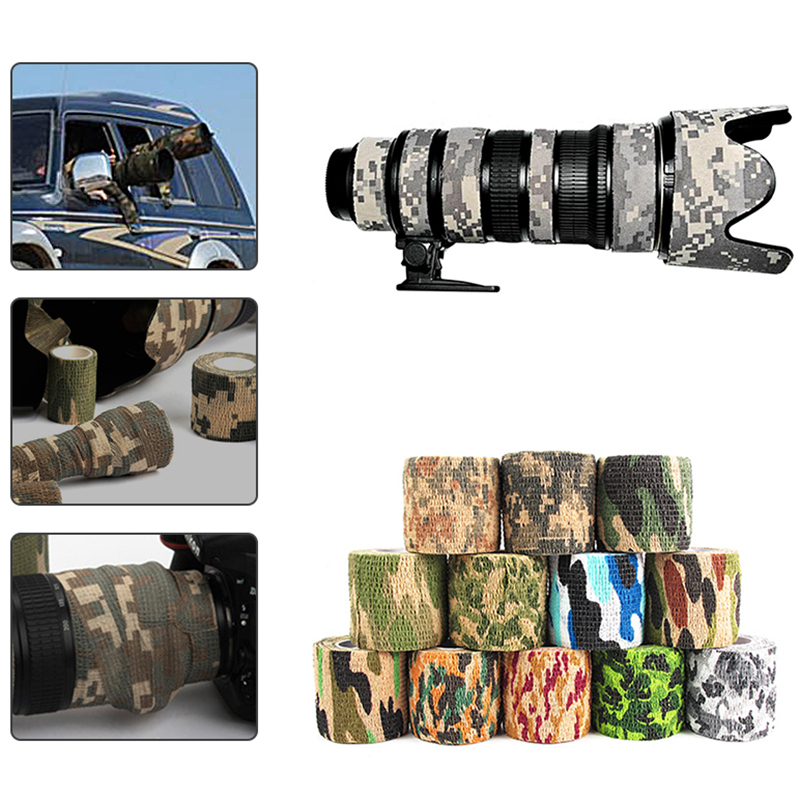 Camouflage Tape 5cmx4.5m Army Camouflage Outdoor Hunting Shooting Tool Camo Invisible Tape Waterproof Packaging Tape 20pcs