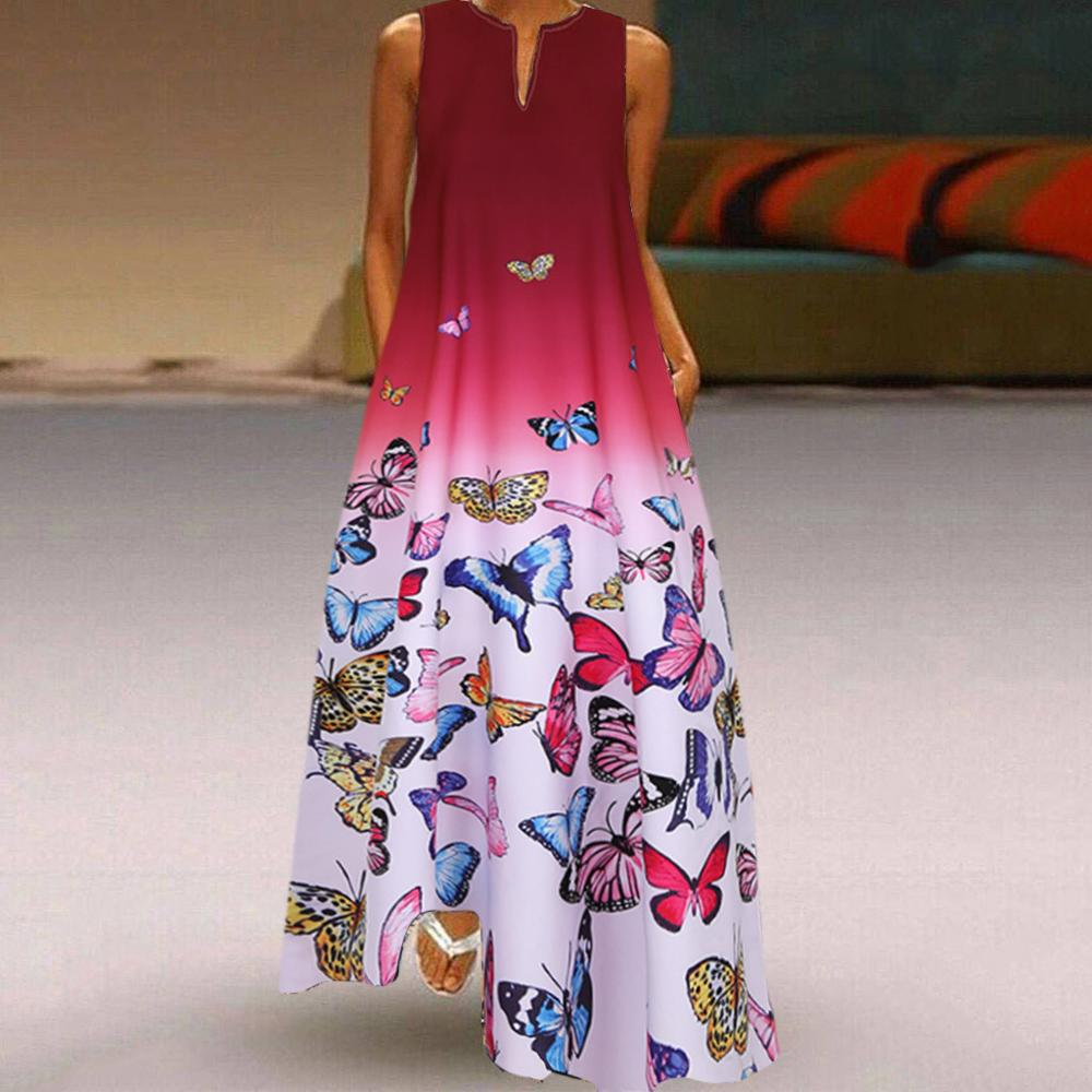 Vintage Sexy V-Neck Sleeveless Butterfly Print Bohe Maxi Dresses Women 2020 Summer Casual Plus Size Loose Long Party Dress