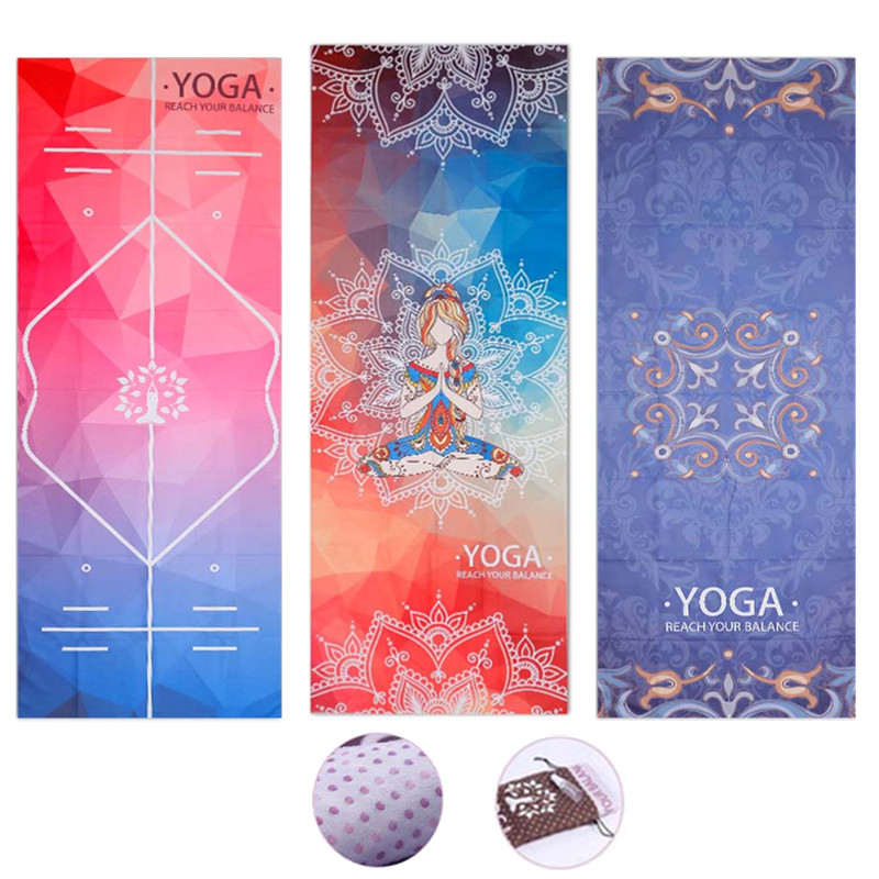 Printed Yoga Mat Towel Microfiber AbsorbSweat Yoga Towel Silica Gel Non-slip Goodgrip 183*65cm Yoga Blanket Pilates Mat Cover
