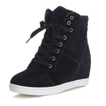 Black Casual Shoes Women Sneakers 2019 Spring Autumn High Top Wedge Platform Lace Up Flock Flats