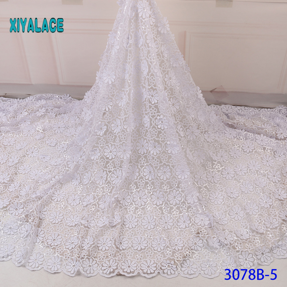 Elegant Pure White Sequins Evening Dresses African Lace Fabric Female Tassels Bridal Bridesmaid Party For Wedding Dress YA3078B