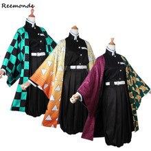 Tomioka Giyuu Kimono Cosplay şeytan kostüm Slayer:Kimetsu hiçbir Yaiba Kamado Tanjirou Kamado Nezuko Kimono gömlek pantolon üniformaları peruk