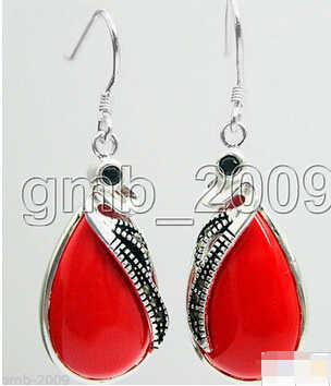 827+++Latest Fashion 15*26mm Red Coral 925 Sterling Silver Marcasite Earrings