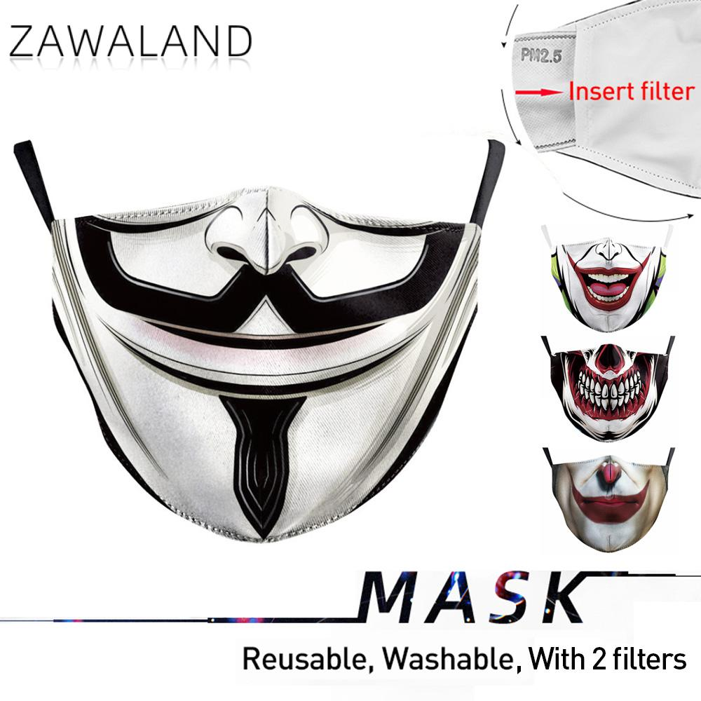 Zawaland Funny Big Mouth Joker Clown Masquerade Mask Washable Face Mouth Mask Protective PM2.5 Filter Bacteria Proof Flu Masks