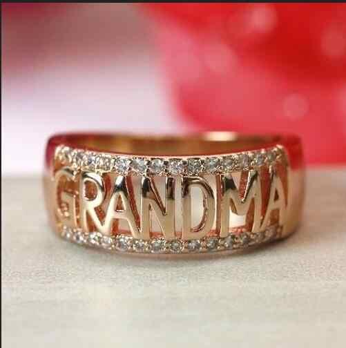 Oro abuela moda mujer 18K oro rosa chapado zafiro blanco abuela anillo boda joyería anillo moda joyería blanca