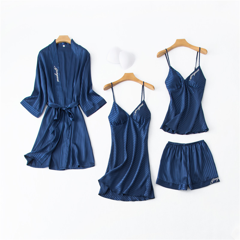 Daeyard Silk Pajamas For Women Solid Striped 4Pcs Pyjamas Set Embroidery Spring Summer Sexy Lace Pijamas Sleepwear Home Clothes
